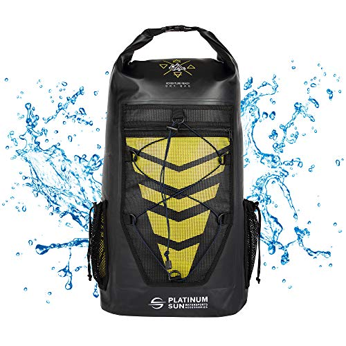 Platinum Sun 30L Waterproof Dry Bag Backpack - Rolltop Floating Backpacks - Sailing Bags for Kayaking Fishing Canoeing Kite Surfing Hiking Boating Swimming Water Sports - Yellow