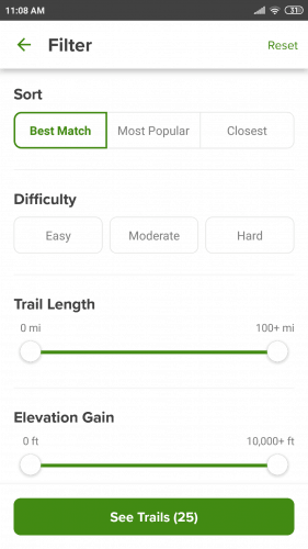 all trails configuration options
