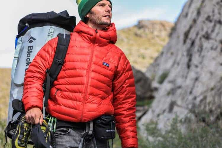 hiker with red jacket