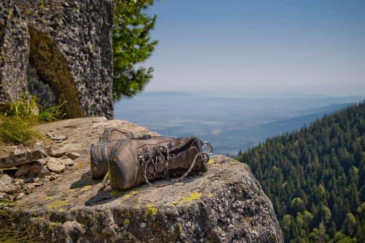 hiking shoes on a rock