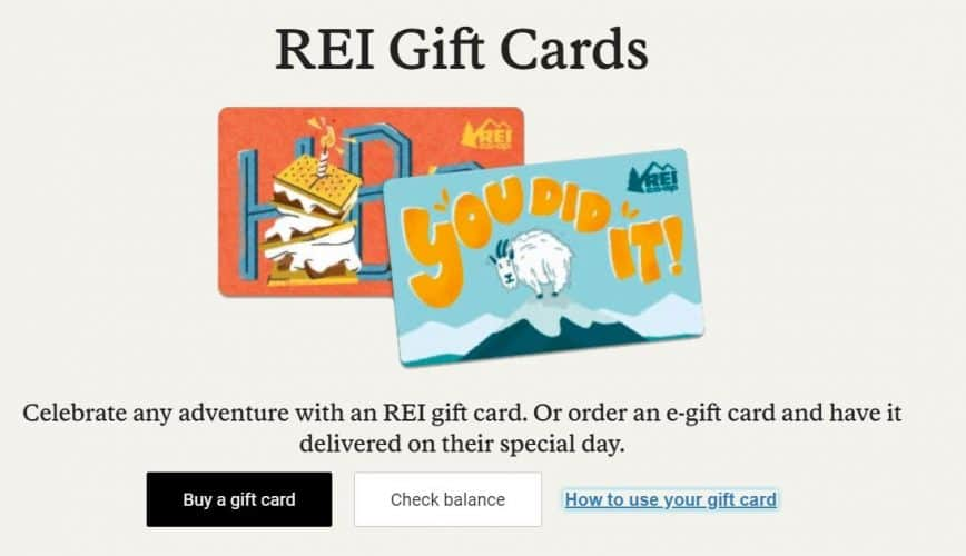 rei gift card purchase