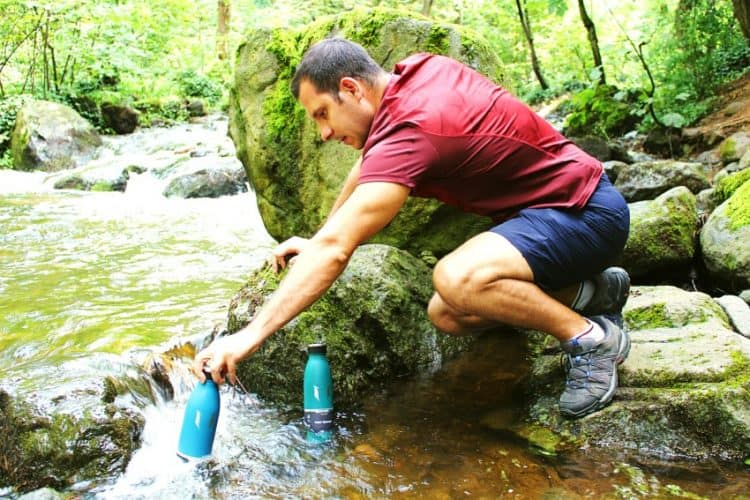 hiking with hydro flasks.