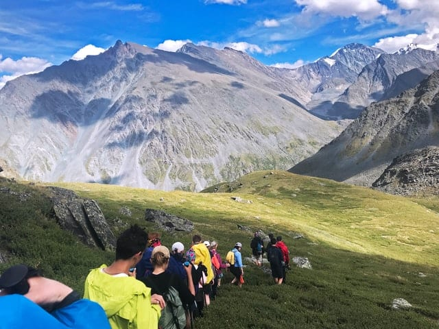 group of people hiking