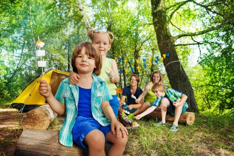 camping kids with food