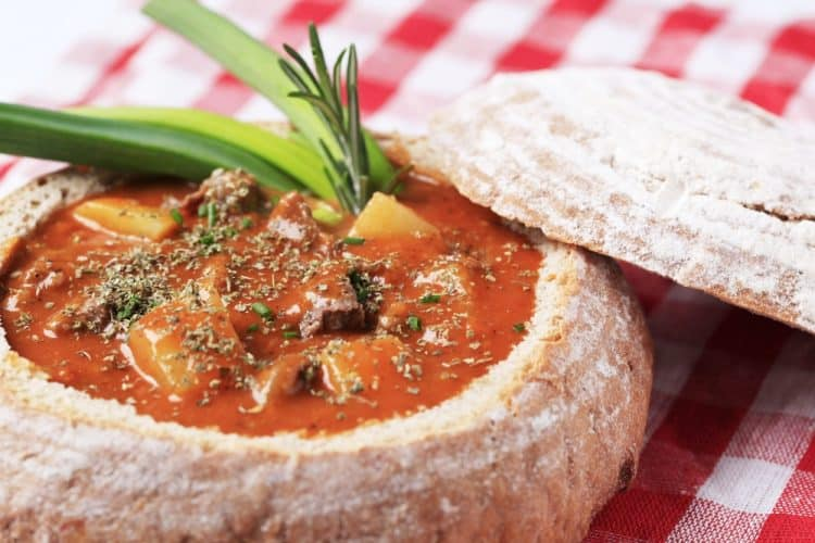Beef stew in a bread bowl