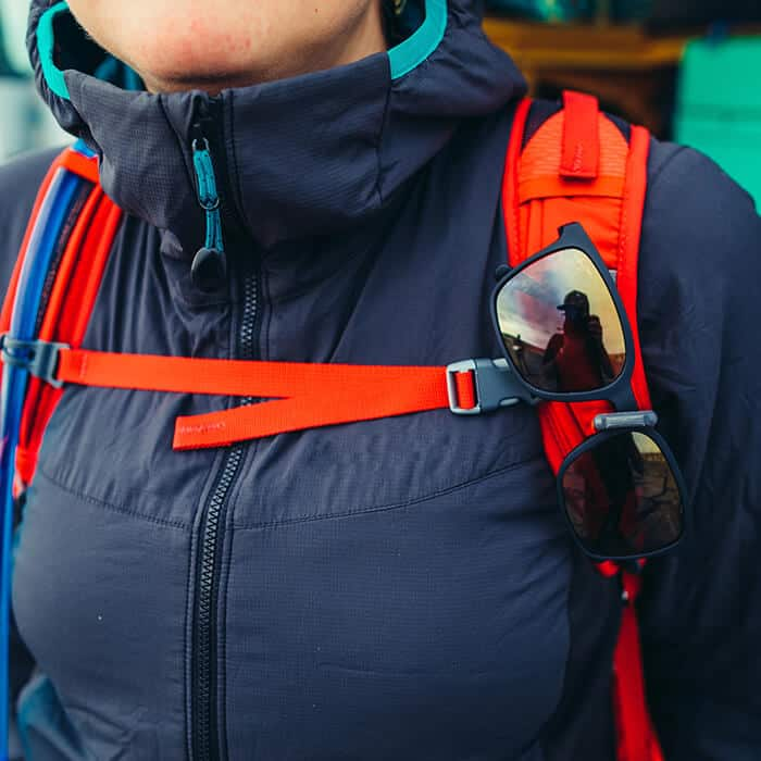 quickstow sunglasses system on a gregory backpack
