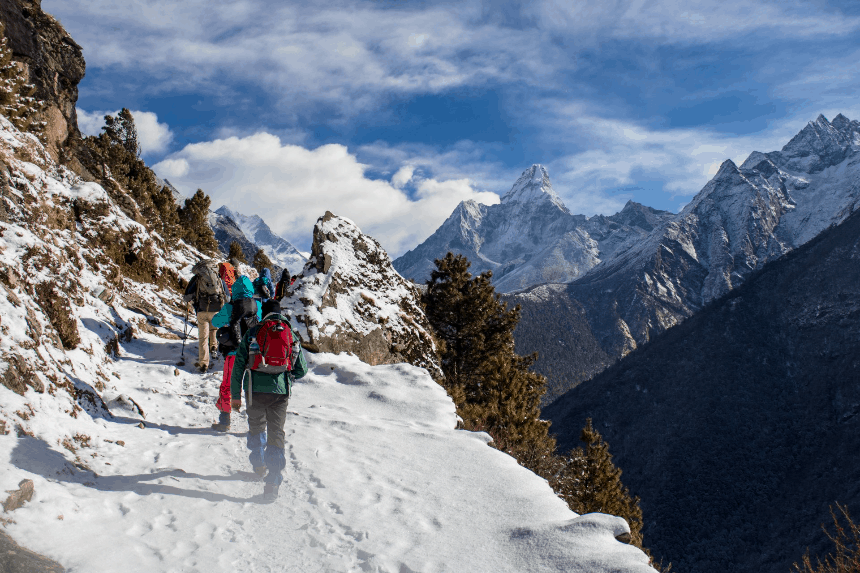 hikers hiking in winter