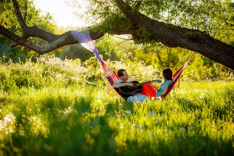 couple hanging in a hammock