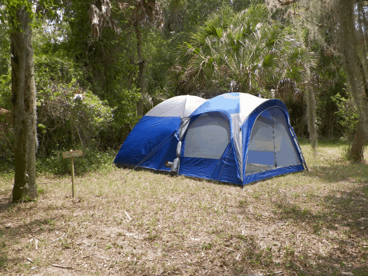 a camping tent in the forest
