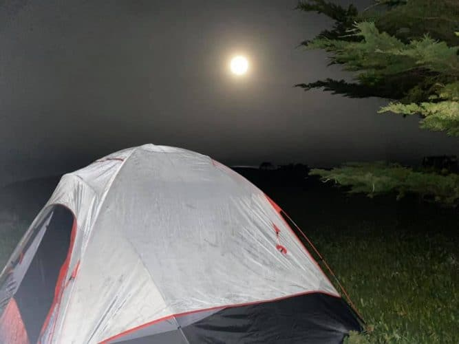 a tent during night