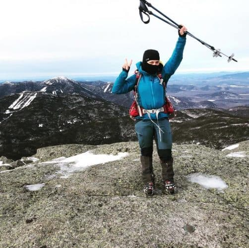 backpacker on a mountain top