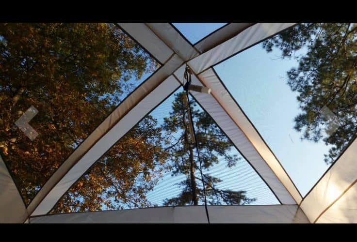 a see-through roof of a stargazing tent