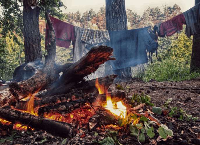 camp fire and drying clothes