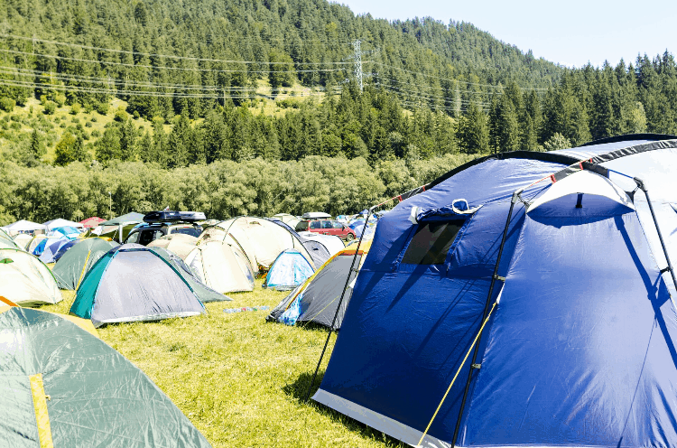 a campsite with many tents