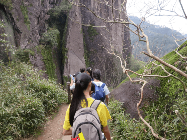 a group of backpackers on a trail