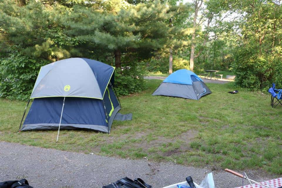 camping in the coleman sundome tent