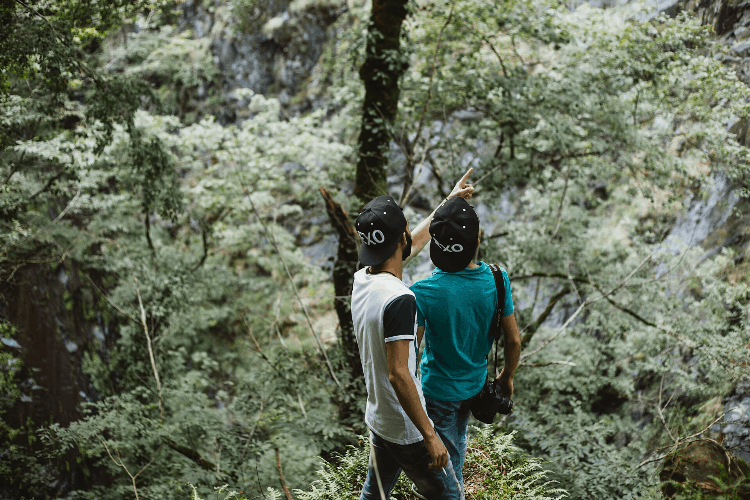 two friends out in nature