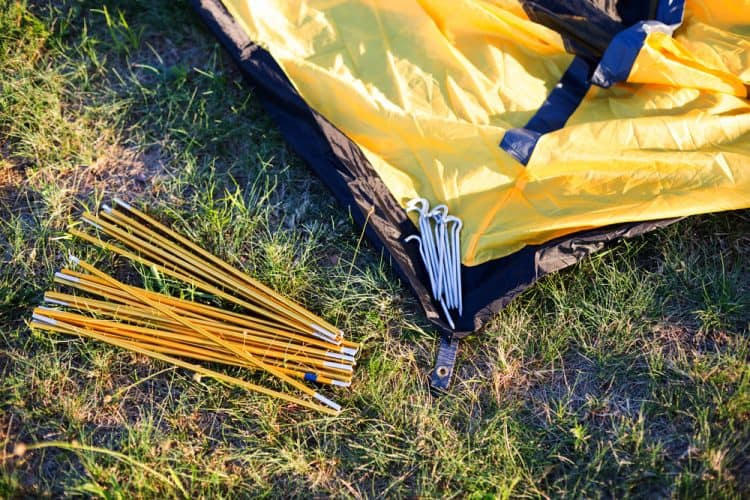 a tent with tent stakes
