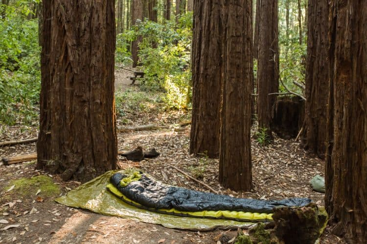 a sleeping bag in the woods