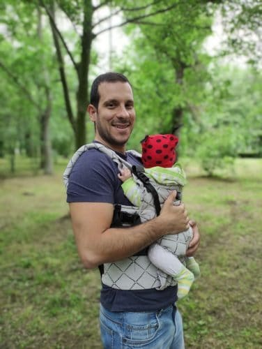 a hiking dad with a baby