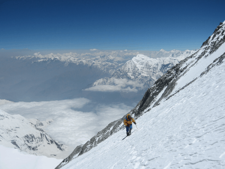 a mountaineer at high altitude