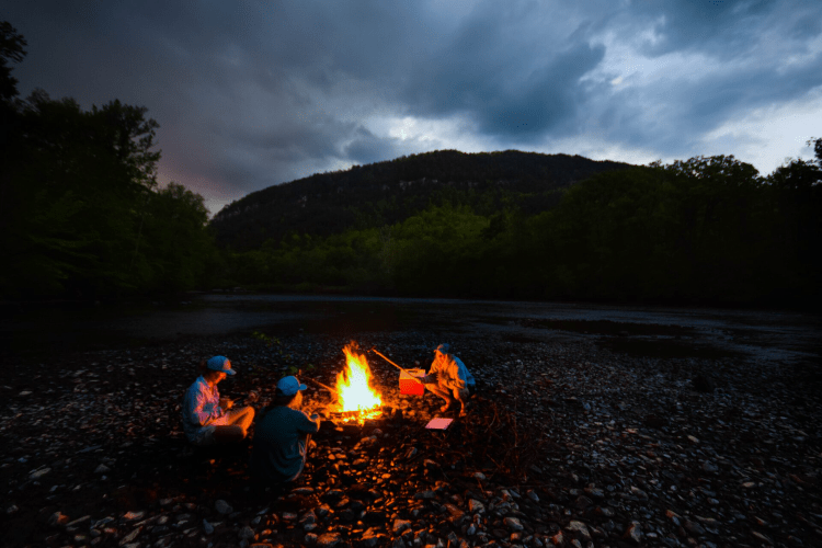 campfire at night at a campsite
