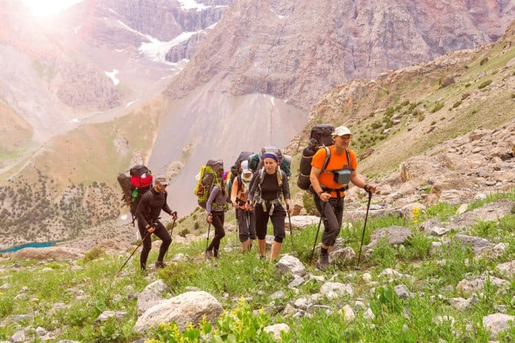 a group of hikers at the mountains