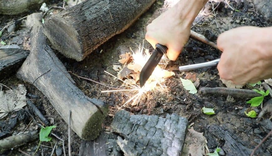 Using Knife For Starting a Fire